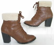 NEW LOOK SIZE 8 WOMENS BROWN TAN VICTORIAN STYLE LACE UP ANKLE BOOTS HEELS
