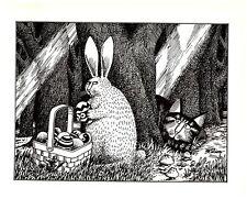 Cat Spying On Easter Bunny Basket Kliban Cat Print Black White Vintage