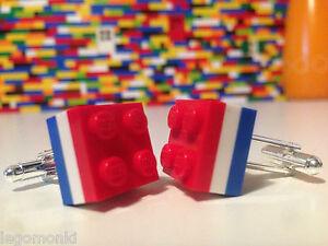 Pair Handmade MonkiStuff Cufflinks, Red, White & Blue made using LEGO® Bricks