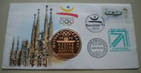 1992 BARCELONA OLYMPICS MEDAL COVER WITH STAMP AND POSTMARK PNC