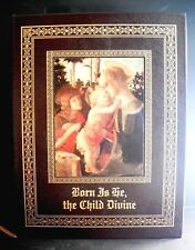 Nativity/Christmas Leatherbound Book-Amy Gelber 1997-'Born Is the Child Divine'