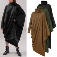 UK Womens Long Sleeve Asymmetric Kaftan Maxi Dress Turtleneck Casual Shirt Dress