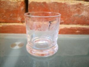 ANTIQUE HAND ETCHED (GRAPES AND VINES) POSSIBLE TOASTING GLASS (HEAVY BASE) 7CMS