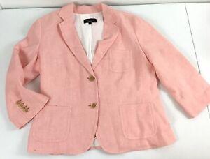 Talbots Linen Blend Jacket Size 14 Blazer Salmon Color