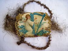 Vintage Victorian Christmas Die-cut & Embossed Angel Playing Blue Flowered Harp*