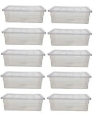 PACK OF 10 - 40L LITRE STORAGE BOX CONTAINER SPACE STORAGE BIN BOXES WITH LID