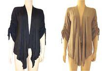 Women Ladies front open wool Cardigan top shrug plus size black mocha new