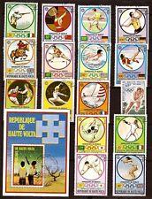PR 117 HAUTE VOLTA 1 Bloc + 16 timbres oblitérés: disciplines des J.O Munich 72