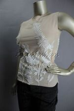 $3270 New ALEXANDER MCQUEEN White Embroidered Floral Mesh Beige Nude Top 6 40