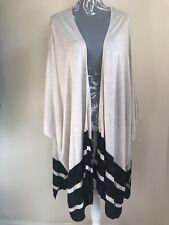 H&M Women Cardigan Size 14-16 Ivory Beige Stripe Extremely Oversized Lightweight