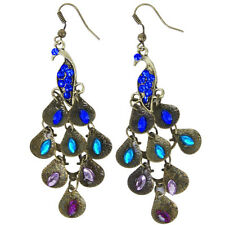 Retro Blue Rhinestone Peacock-Pattern Teardrop Tail Dangle Earrings L6