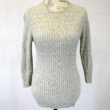 J. Crew 2-Ply 100% Cashmere Soft Gray Cable Knit Classic Crew Neck Sweater Large