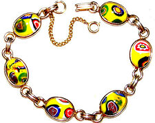 VINTAGE BEAUTIFUL MELLEFORI MURANO GLASS GOLD TONE BRACELET WITH SECURITY CHAIN