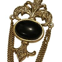 Vintage Gold Tone Fleur De Lis Brooch W/ Black Onyx Cabochon Stone