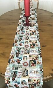 TRADITIONAL FATHER CHRISTMAS TABLE RUNNER 220cm x 26cm Decoration GREEN Straight
