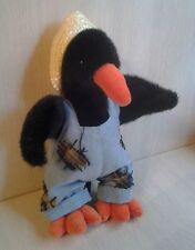 """1993 Ty Cawley the Black Crow Scarecrow Outfit Straw Hat Plush 11"""" NWT Rare HTF"""