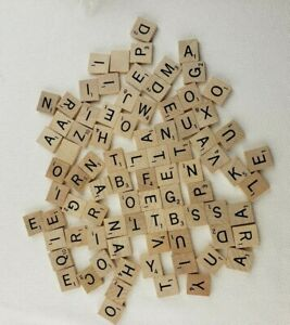 85 Scrabble Game Letter Pieces Wood Tile Lot Wedding Jewelry Craft Supplies