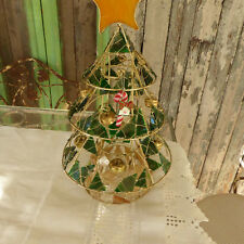 "Metal Christmas Tree Stained Glass and Gold Wire 16""Tx9""W Beads Bells Candy Cane"