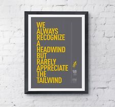 Cycling motivational print poster 'Headwind' A4 High Quality digital print