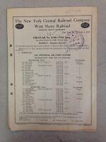 1929 New York Central Railroad Company West Shore Railroad Circular No. B-881
