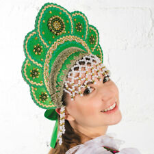 Kokoshnik Traditional Russian Folk Costume Headdress Drag Queen Кокошник Green