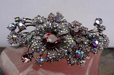 "Kirks Folly ""Twilight Crystal Barrette""Hair Jewelry-Antique Silver Tone-Berry"