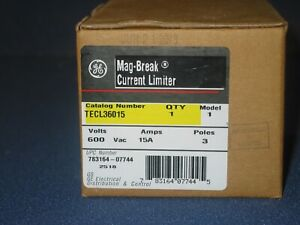 GE 15 AMP CIRCUIT LIMITER TECL36015 3 POLE 600V NEW
