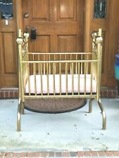 Vintage Brass Cradle Rocking Crib Victorian Corsican Baby Furniture Corsican