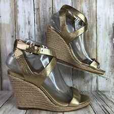Michael Kors Espadrille Sandal Womens 6.5M Wedge Gold Leather Open Toe Dress