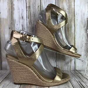 Michael Kors Womens 6.5M Espadrille Dress Sandal Gold Leather Wedge Open Toe
