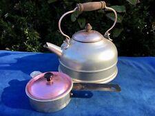 Antique Primitive Coffee Pot Tea Kettle Copper Lid Wood Handle & Egg Poacher SET