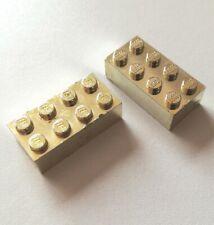 2 x Lego 3001 Bricks 2x4 Chrome Gold Rare