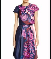 Ted Baker Navy Pevides Oriental Paisley Crop Top 0 (US 2) Retails $195