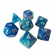 Chessex 27546 Festive Waterlily White 7 Dice Set D&D dungeons dragons rpg blue Z