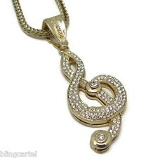 Musical Note Music Iced-Out Pendant Treble Clef Gold Finish Franco Hip Hop Chain