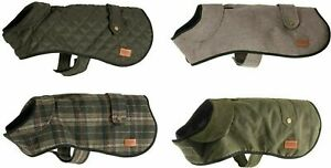 Ancol Heritage Herringbone Quilted Wax Check Dog Puppy Coats Harness Hole