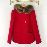 Kate Spade New York Red Faux Fur Wool Double Breasted Coat Size Small