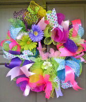 "Handmade 24"" Floral Deco Mesh & Ribbon Wreath Spring Easter Everyday Door Decor"