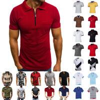 Men's Polo Dress Shirts Summer Short Sleeve T-Shirt Golf Casual Tops Tee Sports