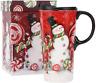Topadorn Coffee Ceramic Mug Porcelain Latte Tea Cup With Lid in Gift Box 17oz.,