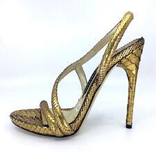 TOM FORD Asymmetrical Tarnished Gold Python stiletto strappy sandal shoe SZ 39