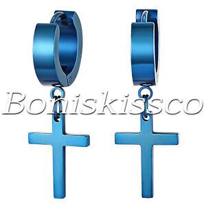 Men's Womens Stainless Steel Cross Studs Drop Dangle Huggie Hinged Hoop Earrings