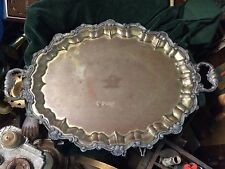 Beautuful Vintage Ornate Metal Tray w/ Handles 28.5 Inches Long Shell Motif Swan