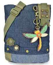 Chala Purse Handbag Denim Canvas Crossbody With Key Chain Tote Bag Dragonfly