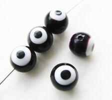 Perline di Vetro Evil Eye a sfera nero 10mm 20 PZ serajosy