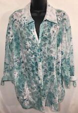 JM Collection Shirt Blouse Long Sleeve Button Down Women's Size 18W Green 🌷