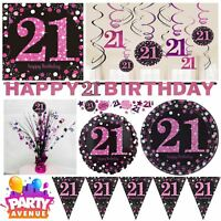 Pink Sparkling Celebration 21st Birthday Party Tableware Decorations Balloons