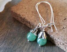 Green glass earrings Silver Long Dangle Handmade In Usa smooth classic