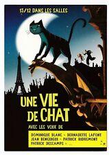 UNE VIE DE CHAT  carte postale publicitaire  Dominique BLANC  Bernadette LAFONT
