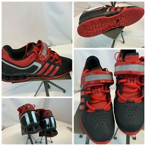 Adidas AdiPower Weight Lifting Shoes Sz 11 Black Leather Red Stripes YGI A1S-63